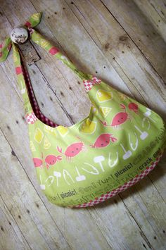 Handmade Picnic Crabs Large Fun Tote Bag One of by MicheleMadeThis