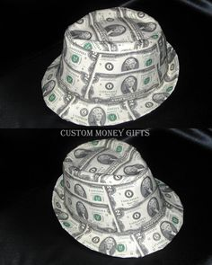 Fedora Hat made with money will make any bride or groom special on their wedding day. Available upon request with any denomination of bills. For price and ordering please text, message or call Margarita @ 818-903-2202
