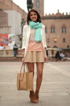 how to wear mint green - just as a scarf, paired with neutrals