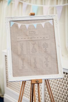 Pastel Fete Marquee Wedding Hessian Bunting Table Plan http://www.mia-photography.com/