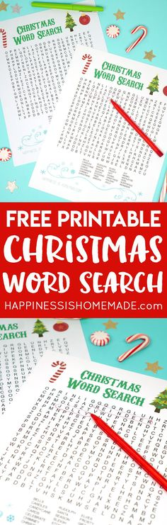This fun Christmas Word Search printable puzzle is a ton of fun for kids and families! Great for kids of all ages! Perfect for teachers and students in the school classroom! via @hiHomemadeBlog