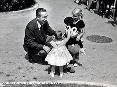 Walt on Main Street with some young guests. From Look Magazine, 1960s.