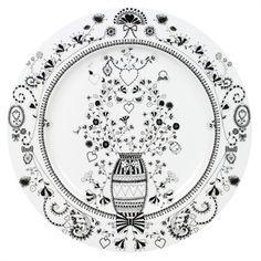 Bord Bloem - Miss Blackbirdy - Wit Ø30,5 cm   Serviesshop
