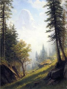 """Among the Bernese Alps"" by Albert Bierstadt  [style: luminism]"