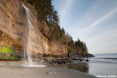 The waterfall at Mystic Beach. There is one main large fall at the southern end of the beach. At low tide as you walk north you pass many others and in fact water cascades all over the beach front. Oh The Places You'll Go, Places To Travel, Places To Visit, Vacation Places, Vacations, Voyage Canada, Canada Travel, Canada Trip, Canada Eh