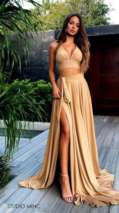 Sexy 2 Pieces Side Slit Long Prom Dress Fahion Long School Dance Dresses Custom Made Long Two Pieces Evening Party Gowns,Prom on Storenvy Evening Party Gowns, Evening Dresses, Formal Dresses, Lila Outfits, School Dance Dresses, Looks Chic, Two Piece Dress, Gold Two Piece Prom Dress, Gold Party Dress