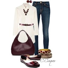 """""""Oversized White Blouse & Burgundy"""" by ccroquer on Polyvore"""