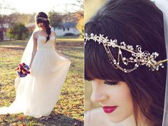 bridal tiaras photo by Amy Nicole Photography http://www.ruffledblog.com/bohemian-luxe-winter-wedding/