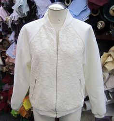 Neoprene and lace bomber jacket; Burda pattern 7210. Love sewing with neoprene! #moodfabrics