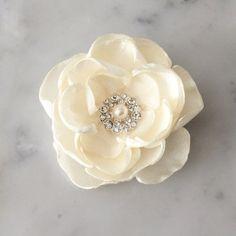 Ivory hair flower ivory bridal fabric flower by SadieBloomDesigns