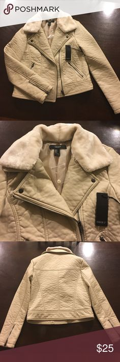 Leather Jacket Jacket is 100% polyester with removable faux fur collar. Cream color, never worn from Forever 21. Tags still on. Forever 21 Jackets & Coats
