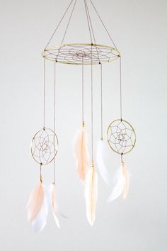 Dreamcatcher Mobile - Peach and White Boho Bohemian Baby Tribal Crib Nursery Baby Feathers Baby Boy Girl