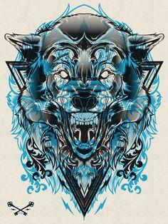 Halftone Print Series - Wolf & Lion by Joshua M. Smith, via Behance