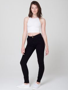 Four-Way Stretch High-Waist Side Zipper Pant in Jet Black by #AmericanApparel