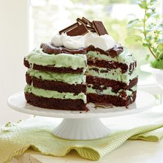 Recipe: Mint Chocolate Chip Ice-Cream Cake | SouthernLiving.com | #Chocolate