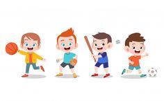 School Sports, Kids Sports, School Border, School Suplies, Kids Graphics, Cartoon Kids, Girl Cartoon, Abc For Kids, Sports Images