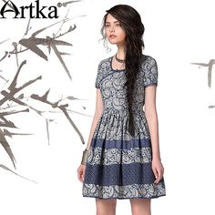 Artka Women'S Summer Vintage O-Neck Slim Waist Knee-Length National Batik Patchwork Skin-Friendly Cotton Dress LA10043X Carrie $106.00