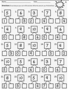 Number Bond Fluency Worksheets Addition by Kinesthetic Classroom Math Addition Worksheets, First Grade Math Worksheets, 1st Grade Math, Preschool Worksheets, Mental Maths Worksheets, Number Worksheets, Number Activities, Numbers Preschool, Numbers Kindergarten