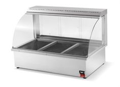 "VOLLRATH Heated Deli Display Case Hot Food Bar, counter top, 43""W, service type, curved glass design, wet or dry heat, 3 division 6-pan capacity, single shelf, temperature control, s/s construction with removable curved glass, rear sliding doors, 1.3 kw, 110v/60/1-ph, ETL, NSF, model# BMA"
