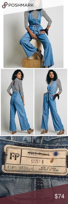 """NWOT Free People Denim Clara Chambray One Piece Brand New without tags. Free People Lightweight chambray one piece featuring a low V-neck, front exposed zipper and adjustable waist tie. Adjustable crisscross strappy back and a four-pocket style.  Wide leg bottoms. Very flattering on any body type. See photo for crossed out tag to prevent return to retail store. Length from top of zipper to bottom is 45.5"""" and length from shoulder to bottom is 54"""" Free People Pants Jumpsuits & Rompers"""