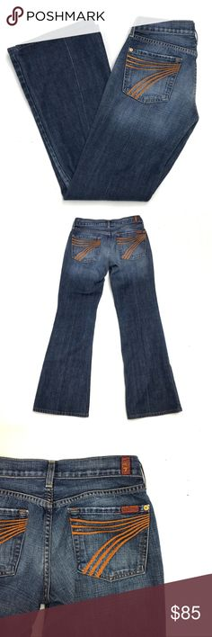"""7 for All Mankind Dojo Jeans with Orange 7 Pockets A pair of 74AM 7 for All Mankind dojos in a medium wash.  Gently used in excellent condition. No wear on hems.    Size 27.  8"""" rise / 31"""" inseam  Cut 708260. 7 For All Mankind Jeans Flare & Wide Leg"""