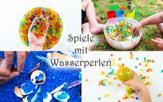 Games with water pearls for children – Mama Kreativ - Kinderspiele Water Pearls, Sprinkles, Kindergarten, Candy, Blog, Kids, Children Games, Matilda, Education