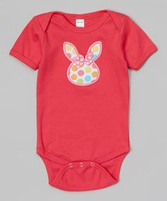 Look what I found on #zulily! Fuchsia Bunny Face Bodysuit - Infant #zulilyfinds