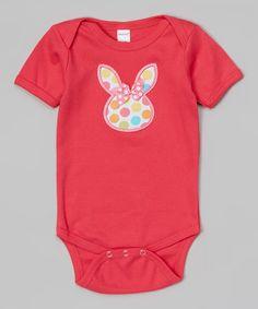 Look what I found on #zulily! Fuchsia Bunny Face Bodysuit - Infant #zulilyfinds