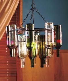 Cool wine bottle chandelier