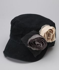 Black Flower Newsboy Hat by Accent Your Outfit: Women's Hats on #zulily today!