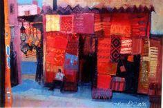 The Carpet Shop Marrakech watercolour by Jean Martin(Scotland) Colorful Art, Urban Painting, Artist Inspiration, Painting Inspiration, Painting, Moroccan Art, Abstract, Art Inspiration, Scottish Art