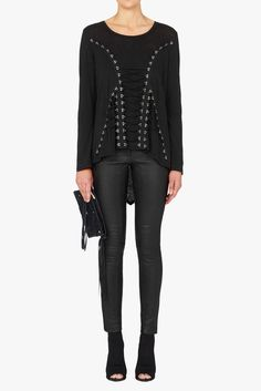 Sass and Bide What It's Like Lace Up Corset Top/Long Sleeve Tee
