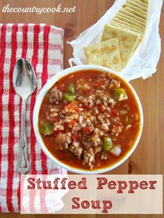 Stuffed Pepper Soup: This was quick and easy but nothing to write home about. I combined this recipe with my bolognese stuffed bell peppers recipe and came out with a spicy and rich soup that was much thicker than the image shown. Changed I made: added cooked quinoa instead of rice, rotel tomatoes instead of regular diced, 1/4 cup red wine, milk at the end with the cheese.