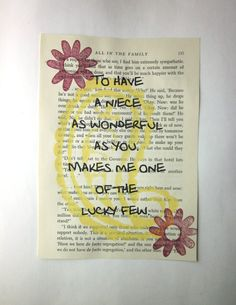 $8.95 Niece quote, saying, poem, print on a book page