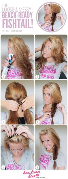 Messy loose fishtail  1)dampen hair (for sticky beachy use mixture of 2parts water and 1part salt change mixtures if u don't want as sticky or hair color bleaches easily)  2) run fingers through and shake around   3) fishtail hair (leaving bangs out)  4) do bangs to your style   5)shake hair and pull braid apart to loosen