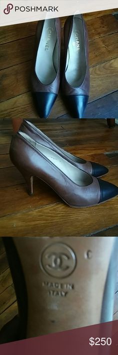 Shoes/ Authentic/ Vintage Brown leather with black cap toe. 2.5 in. heel in very good condition. Offers accepted. Chanel Shoes Heels