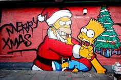 Shoreditch Simpsons Christmas Street Art