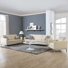 Modway Loft 3 Piece Upholstered Fabric Sofa Loveseat and Armchair Set in Beige - Sofa Set - Ideas of Sofa Set - Modway Loft 3 Piece Upholstered Fabric Sofa Loveseat and Armchair Set in Beige Price : Grey Walls Living Room, Living Room Color Schemes, Living Room Paint, Living Room Designs, Living Room Decor, Living Room Wall Colors, Gray Walls, Living Rooms, Loveseat Sofa