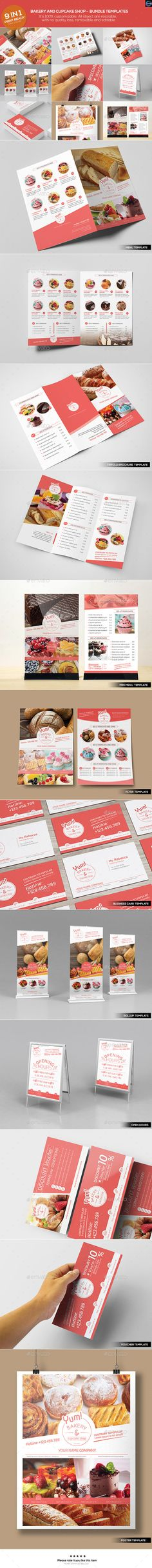 Bakery & Cupcake Shop - Bundle Template #design Download: http://graphicriver.net/item/bakery-cupcake-shop-bundle-templates/12664182?ref=ksioks
