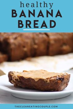 This Healthy Banana Bread Recipe is made with just a few simple, nutritious ingredients like applesauce, honey, whole wheat flour and coconut oil. Easy to make + full of flavor - it's perfect for breakfast or snacking! You can customize it to be gluten free or make it into muffins! It's moist, low sugar, low calorie and delicious! #bananabread #healthy #banana #dessert #chocolate