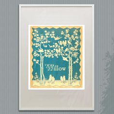 Personalized Nursery PRINT - Vintage Blue Bird