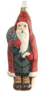 Father Christmas in Red buffalo plaid coat from Vaillancourt Folk Art