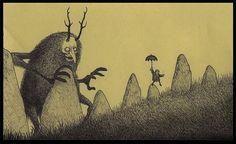 Edward Gorey style post-it sketch John Kenn