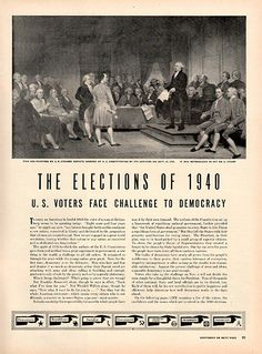 1940 Presidential Elections Original Print Ad