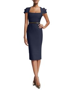 Galaxy Square-Neck Sheath Dress, Navy by Roland Mouret at Neiman Marcus.