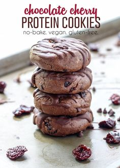 These No-Bake Chocolate Cherry Protein Cookies are vegan-friendly & gluten-free! Plus they're super easy & taste better than your average store-bought bar.