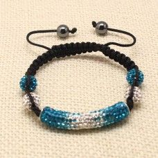 #Turquoise and Silver Two Tone Tube Crystal #Shamballa #Bracelet|crystal bracelets|shamballa  bracelets|completethelookz £11.99