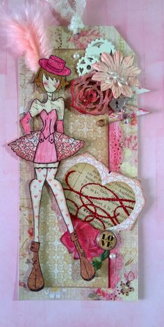 Julie Nutting Designs is starting a Tag of the Month! We are so excited to show off her fabulous creativity! Here is her February tag! #julienutting #dolls #tagofthemonth #papercrafting