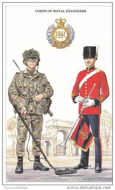 Corps of Royal Engineers, Sapper & Bandsman, by Douglas N T Anderson British Army Uniform, British Uniforms, British Soldier, Military Art, Military History, Royal Engineers, British Armed Forces, Military Pictures, British History