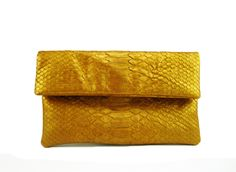 Mini Metallic Foldover Python Leather Clutch